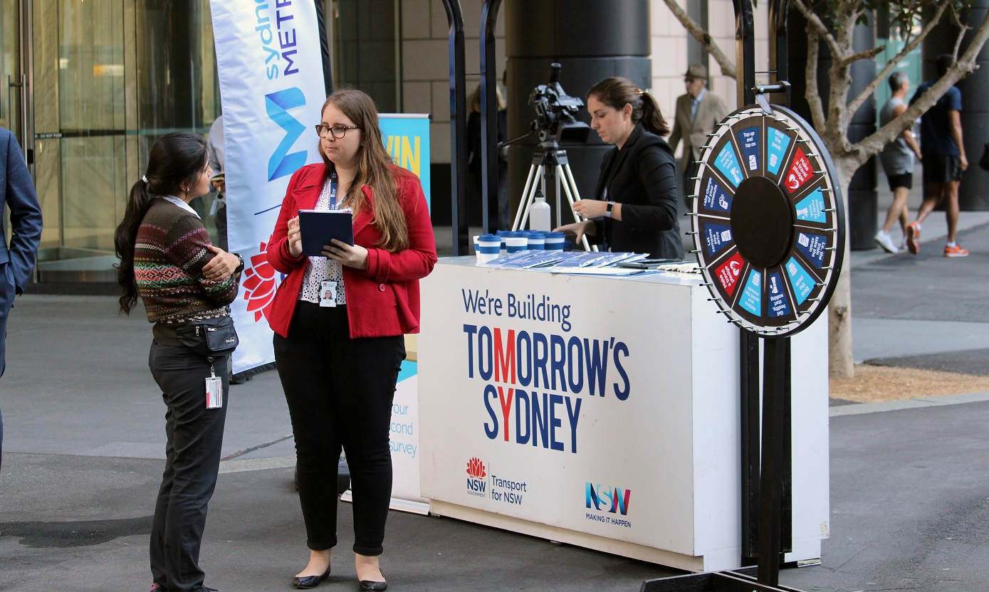 Travel tips were on offer at a Barangaroo pop up