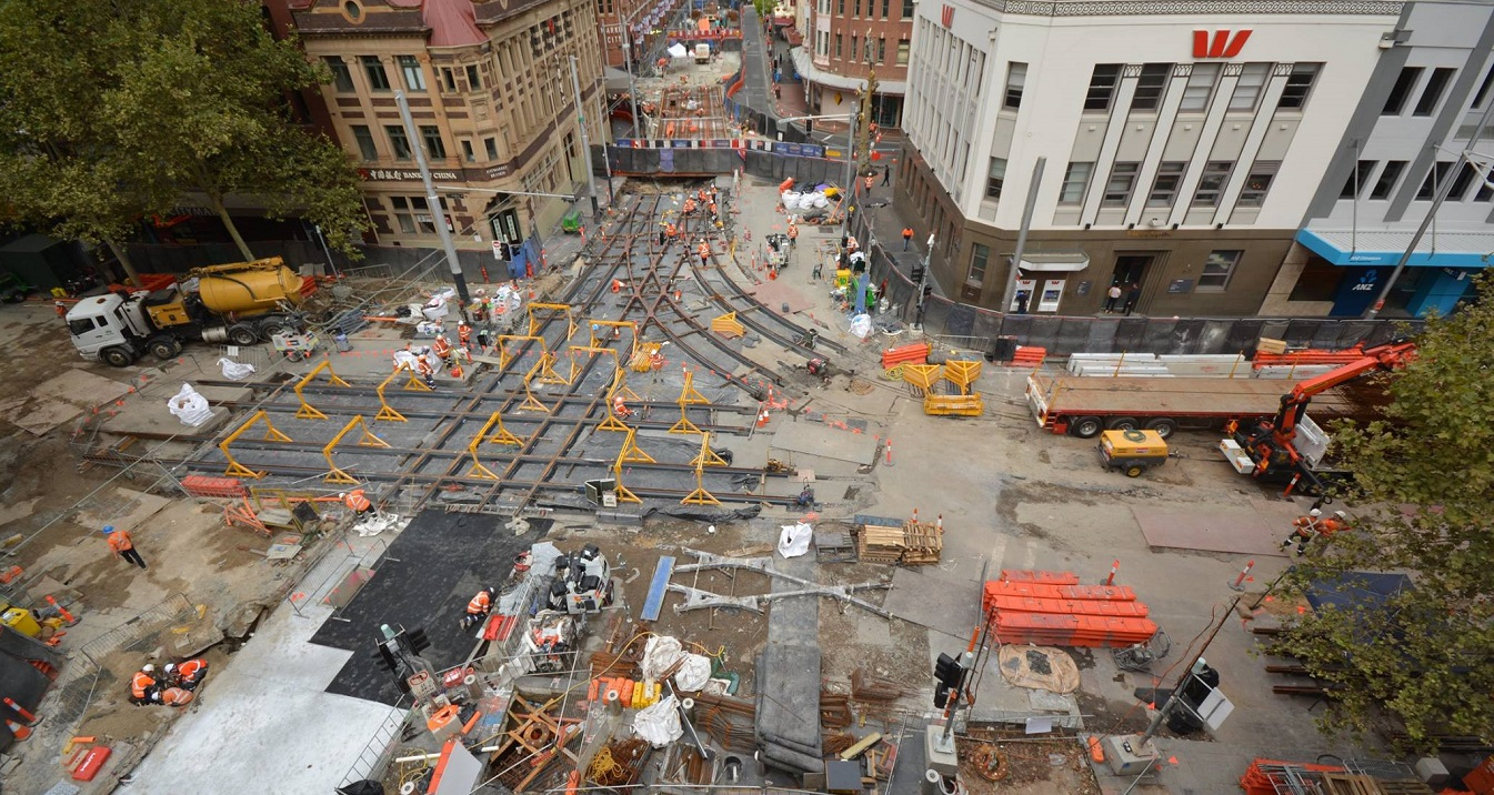Light rail tracks installed at major intersections