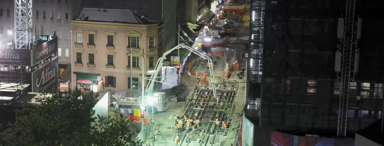 Timelapse of George, Margaret, Hunter St intersection work 22 and 23 September
