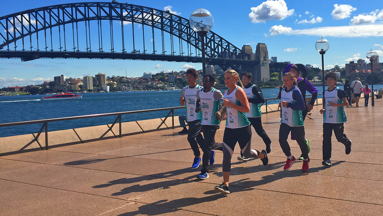 Runners at Circular Quay with the Sydney Harbour Bridge in the background