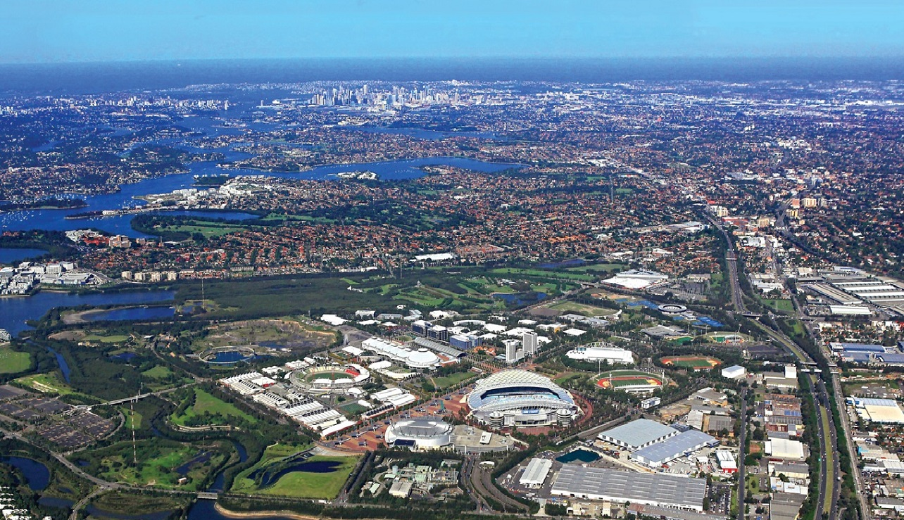 Aerial shot of Sydney Olympic Park