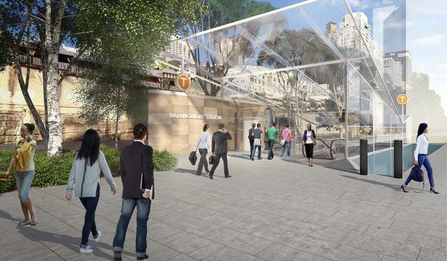 Artist impression of new Sydney Metro station at Barangaroo