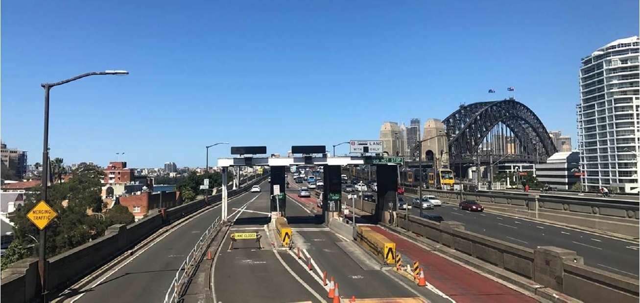 The disused toll booths at the northern end of the Sydney Harbour Bridge
