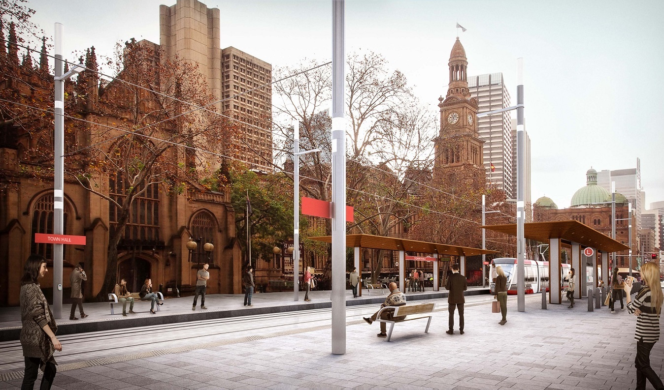 Artist's impression of Town Hall light rail stop