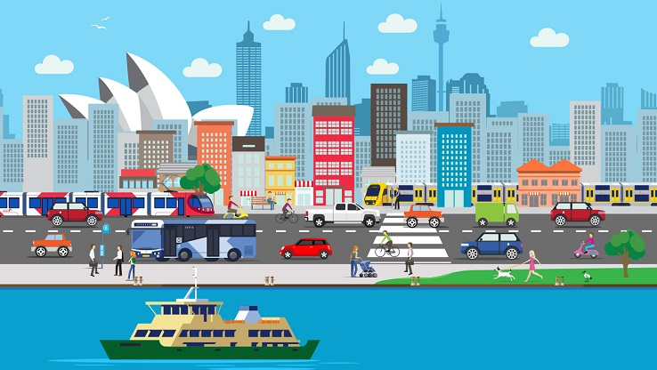 A cartoon graphic of Sydney CBD buildings and transport