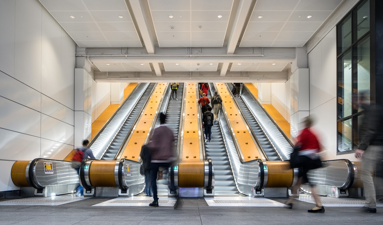 The modern, new escalators at Wynyard's York St entrance
