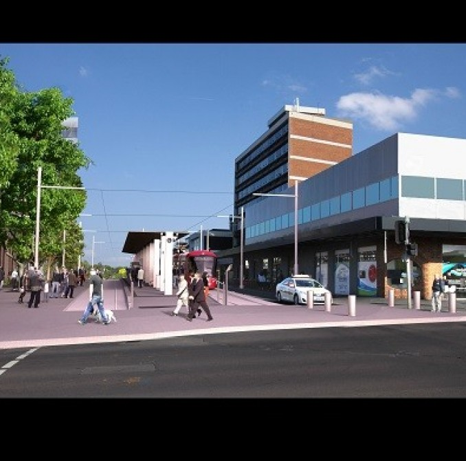 An artist impression of the new light rail Randwick terminus