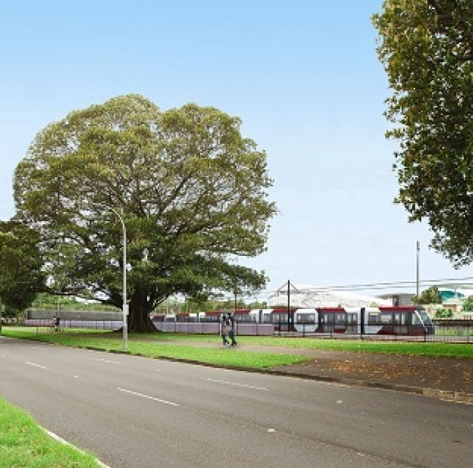Artist impression of new light rail at Moore Park