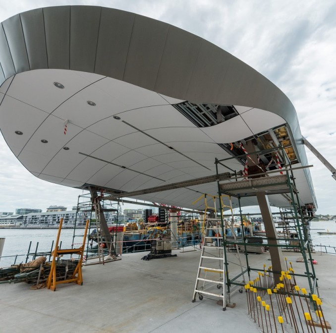 A roof being installed at Barangaroo ferry Hub