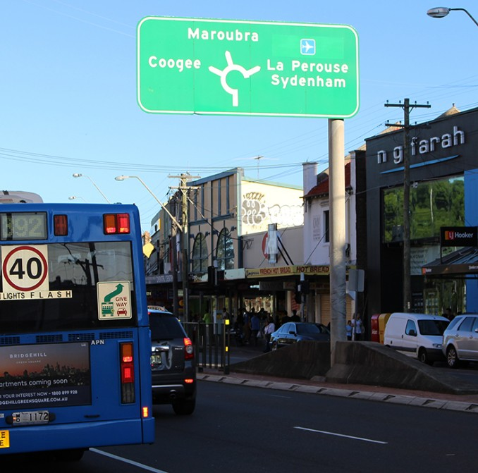 A bus stopped along Anzac Parade at Kingsford