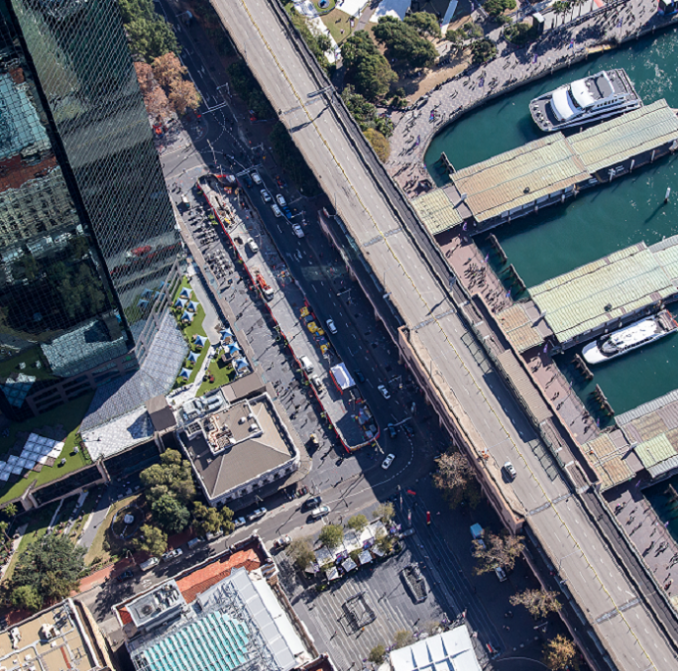 Aerial view of light rail construction in the CBD