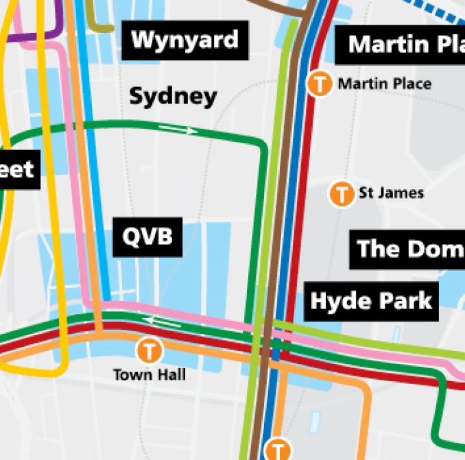 Map of CBD Showing New Bus Routes