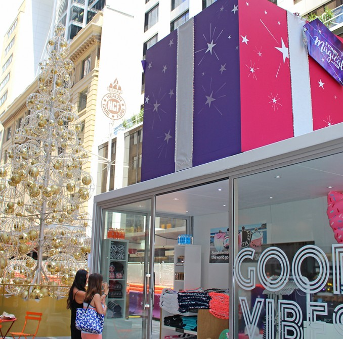 Gold Christmas tree and pop-up retail space on George Street