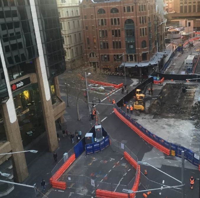 Aerial shot of construction taking place at a CBD intersection