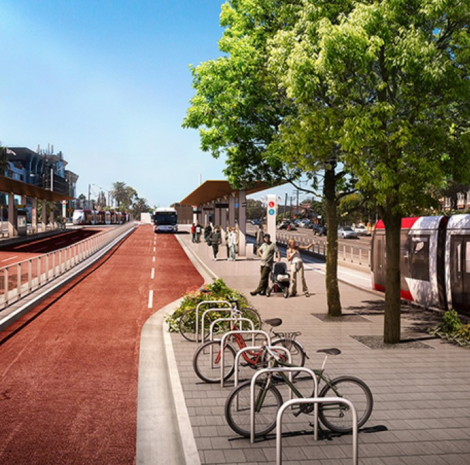 An artist's impression of the new Kingsford light rail terminus