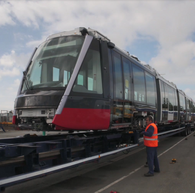 New light rail vehicle undergoing testing in France
