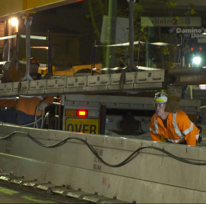 Light rail track delivered ahead of the first installation in Kensington