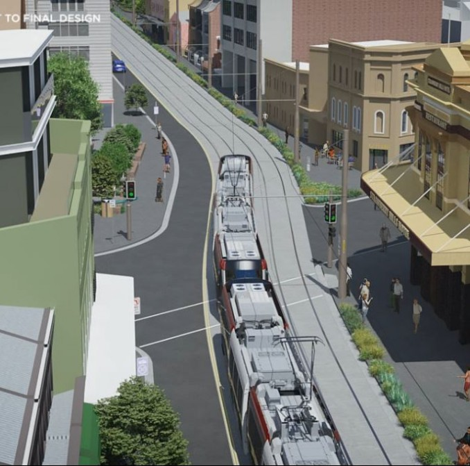 Overhead shot of an animation showing what light rail will look like travelling north along Devonshire Street in Surry Hills