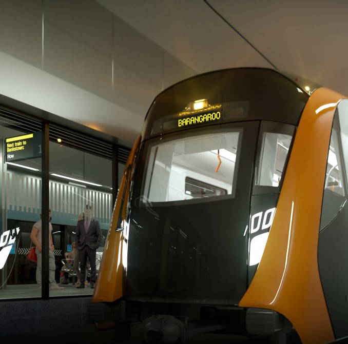 Artist impression of new Sydney Metro train at Barangaroo