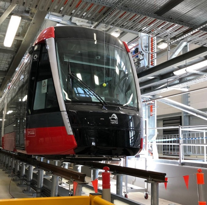 New light rail vehicle arrives at the Randwick Stabling Yard