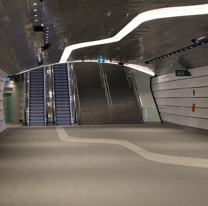 Inside the new Wynyard Walk tunnel