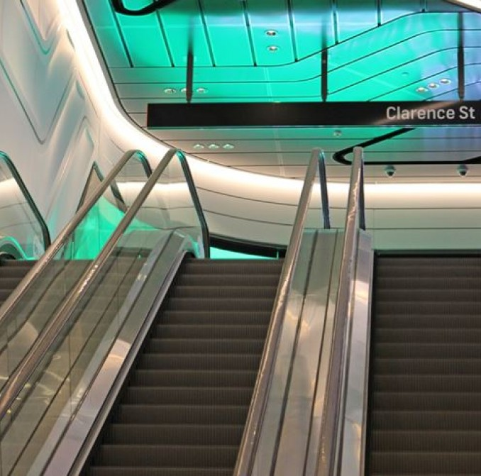escalators in the entrance to Wynyard Walk