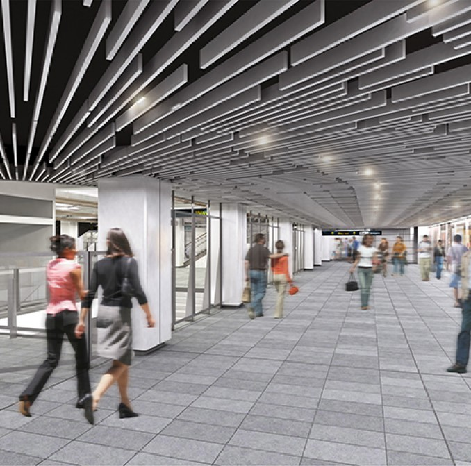 artists impression of Wynyard station shopping area