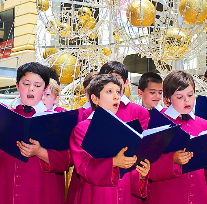 Choir in front of George Street Christmas tree