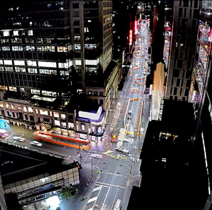 Time lapse video cap of the first closure of George Street in the CBD