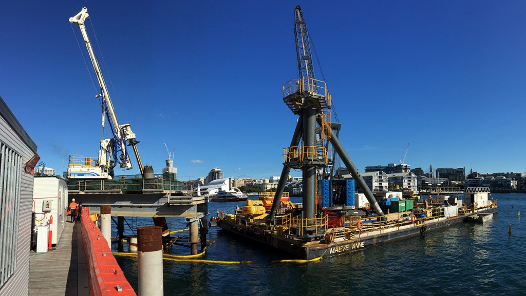 Piling barge and drill rig on a temporary work platform at Barangaroo