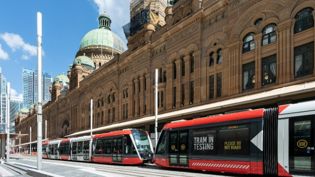 Tram in testing outside QVB