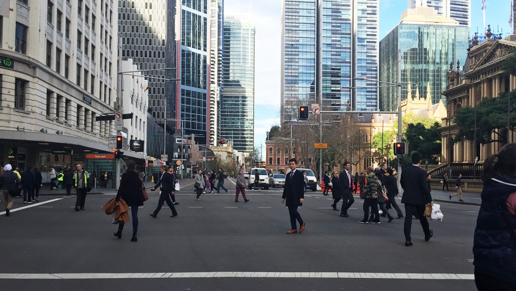 The diagonal pedestrian crossing on George Street near Town Hall in the Sydney CBD.