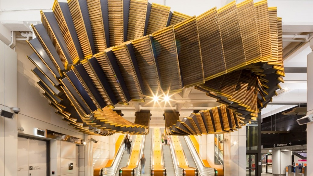 Wynyard Station's wooden escalator inspired artwork