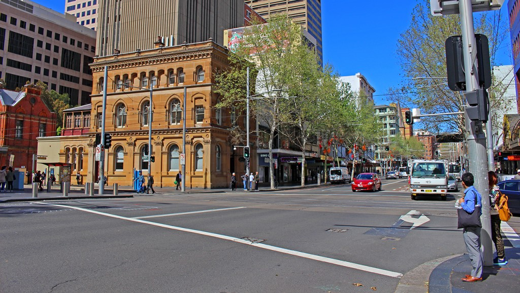 George St looking south at the intersection of Hay Street