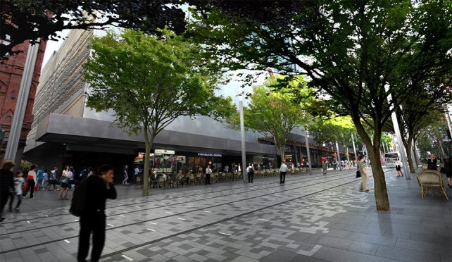 Artist impression of George St south pedestrian zone