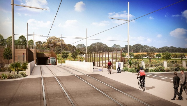 Artist impression of the light rail Eastern Distributor Bridge and Moore Park tunnel