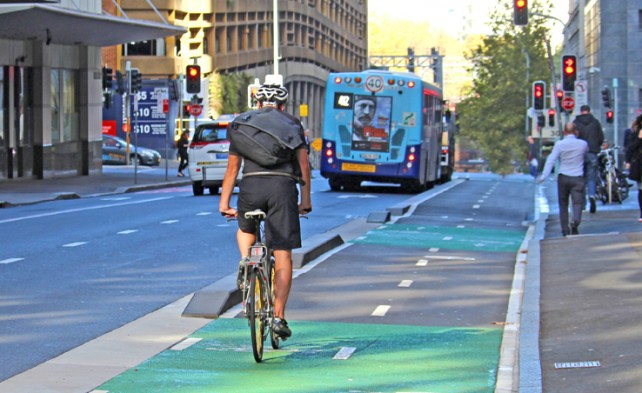 A cyclist on Castlereagh Street cycleway