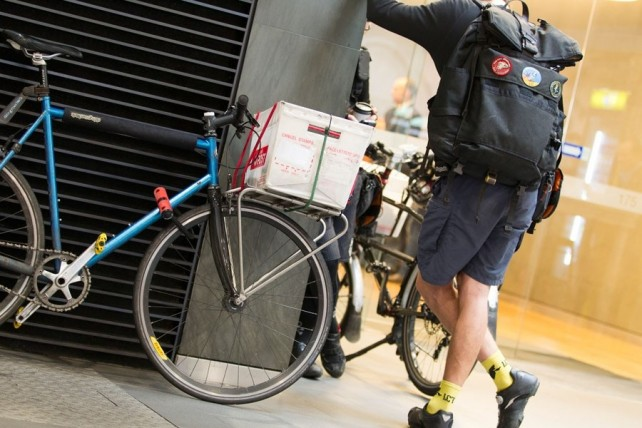 A CBD bike courier
