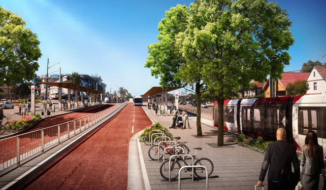 An artist's impression of the future light rail terminus at Kingsford
