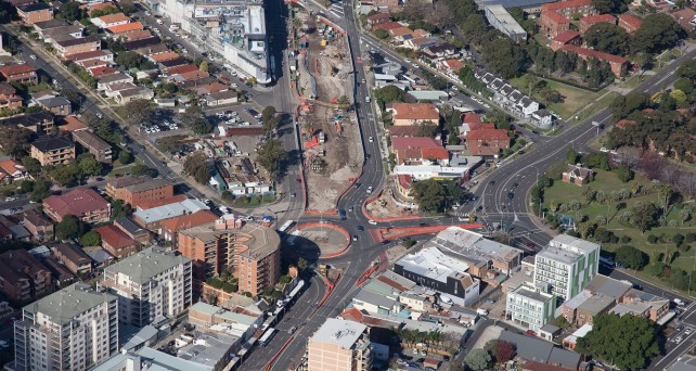 Aerial shot of construction at Nine Ways in Kingsford