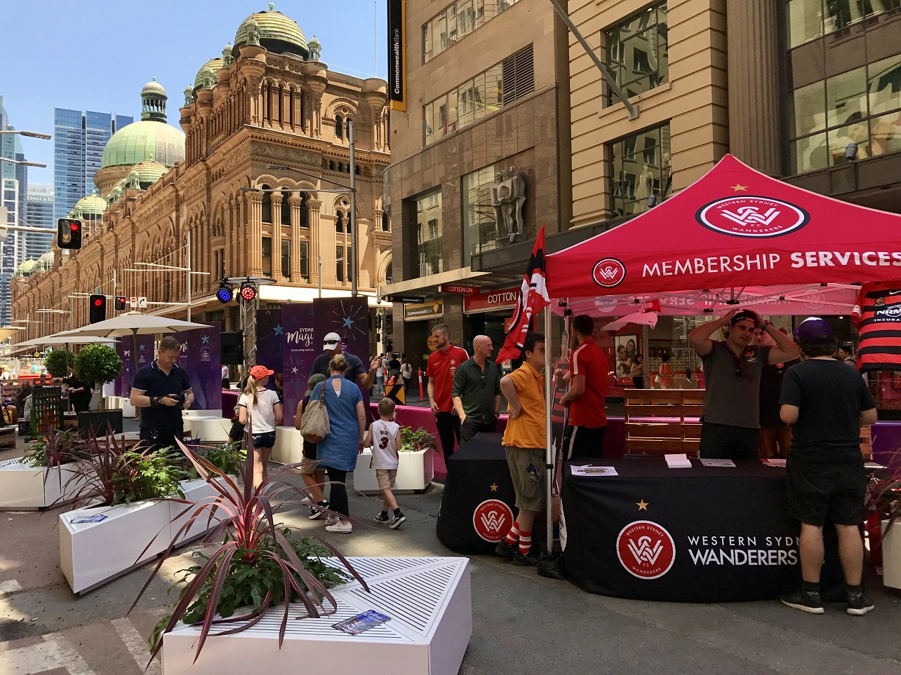 Western Sydney Wanderers players on George Street