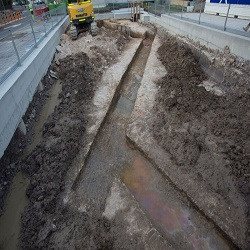 The World War Two air raid shelter was uncovered during recent excavations at High Cross Park