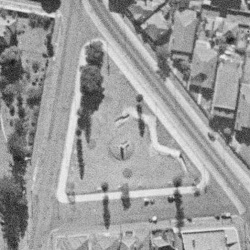A 1943 aerial photograph of High Cross Park, showing the location of the former air raid shelter and trench